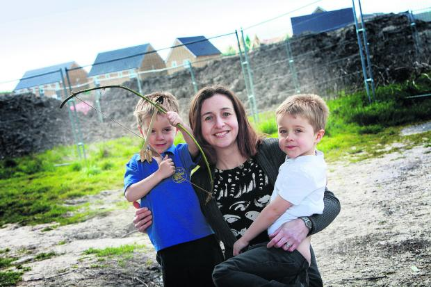 Karen Waggott, who wants a heritage trail created, pictured with her five-year-old twins Jamie, left, and Luke           Pictures: OX58668 Damian Halliwell