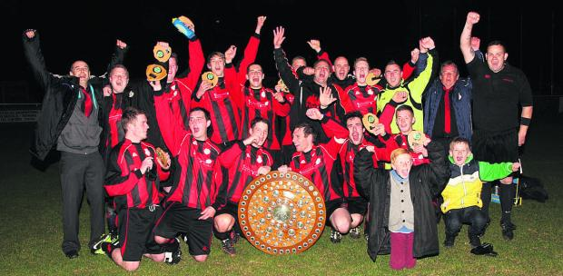 Berinsfield celebrate after winning the North Berks Charity Shield for the second season in a row   Picture: Steve Wheeler