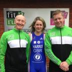 Charlotte Harris is flanked by Dave Parsons (left) and Rob Taylor (right) of Fit2Run