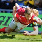 Nick Scott dives over for London Welsh's final try