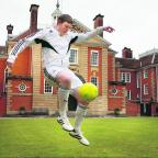 Freestyler Chris Draper shows off his talents at Lady Margaret Hall to promote a Real Madrid soccer course, which will be held in the city this summer