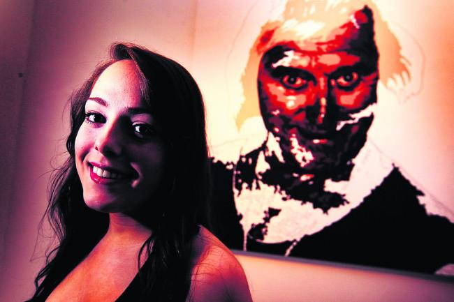 Vicki Soar with her painting of Jimmy Savile. Picture: OX59197 Ed Nix