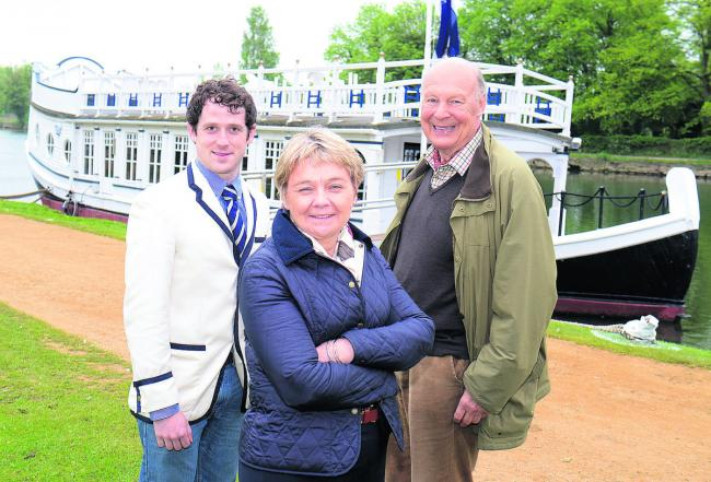 From left, Ben Pilgrim, of St John's College Boat Club, Debbie Dance and Martin Slocock, chairman of the Trustees of St John's College Barge, will be enjoying a party on the vessel tonight on the banks of the River Thames