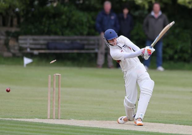Oxford Mail: Oxfordshire Under 15s opener George Jeacock is bowled during his side's win over Herefordshire