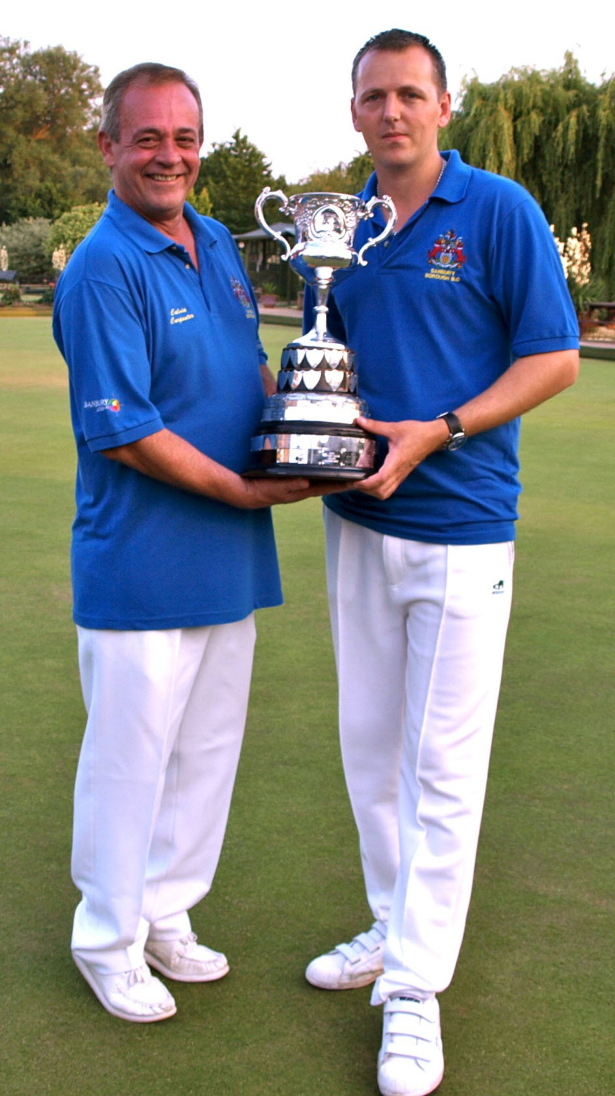 Banbury Borough's Calvin Carpenter (left) and AJ Docherty with the Oxfordshire pairs trophy
