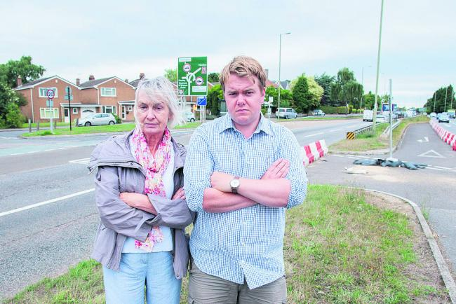 Councillors Dee Sinclair and Laurence Baxter want residents to be able to be use the closed A40 junction