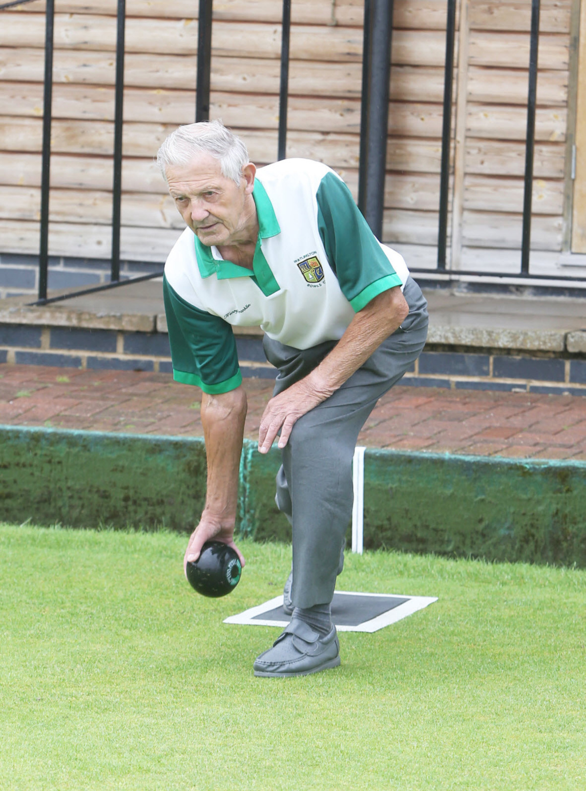 Henry Franklin shows the style which has served him so well playing bowls for 50 years