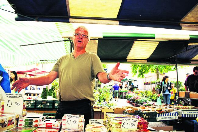Oxford Market cake stall trader Alan Harrington at Gloucester Green                        Picture OX61532 Greg Blatchford