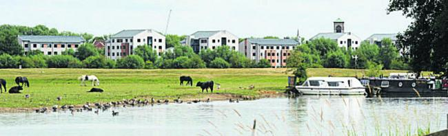 The view of the Castle Mill development from Port Meadow