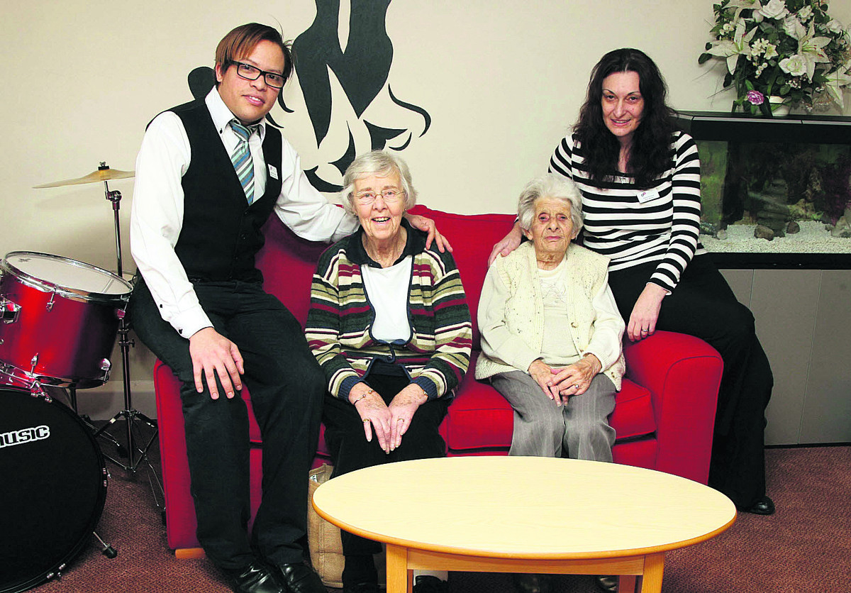 From left are Luciano Thomas, residents Brenda Walker and Helen Wiltshire and home manager Ivana Pavlova
