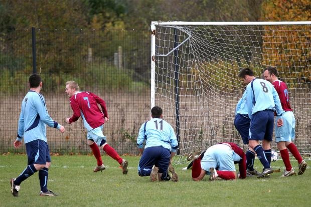 Aston Leach (7) opens  the scoring for Freeland to set his side on the way to victory