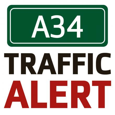 A34 southbound blocked near M40 following motorcycle crash