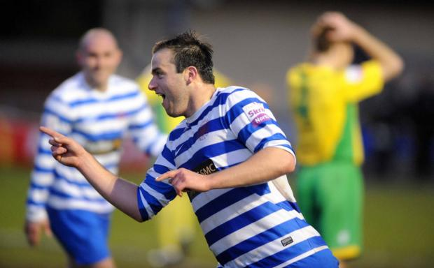 Oxford Mail: Oxford City striker Mike Symons celebrates his cracking goal