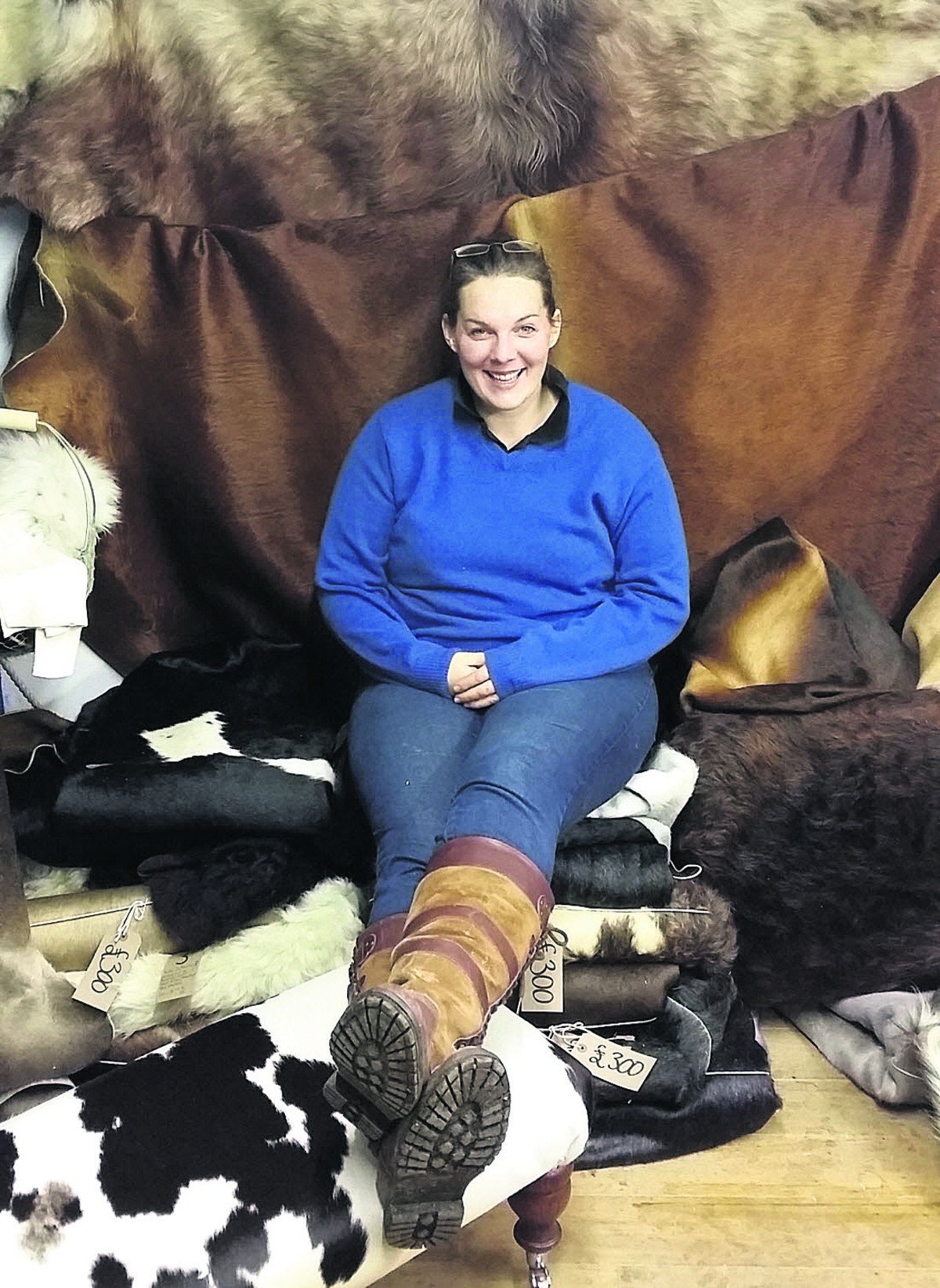 Hayley Hanson with some of the hides