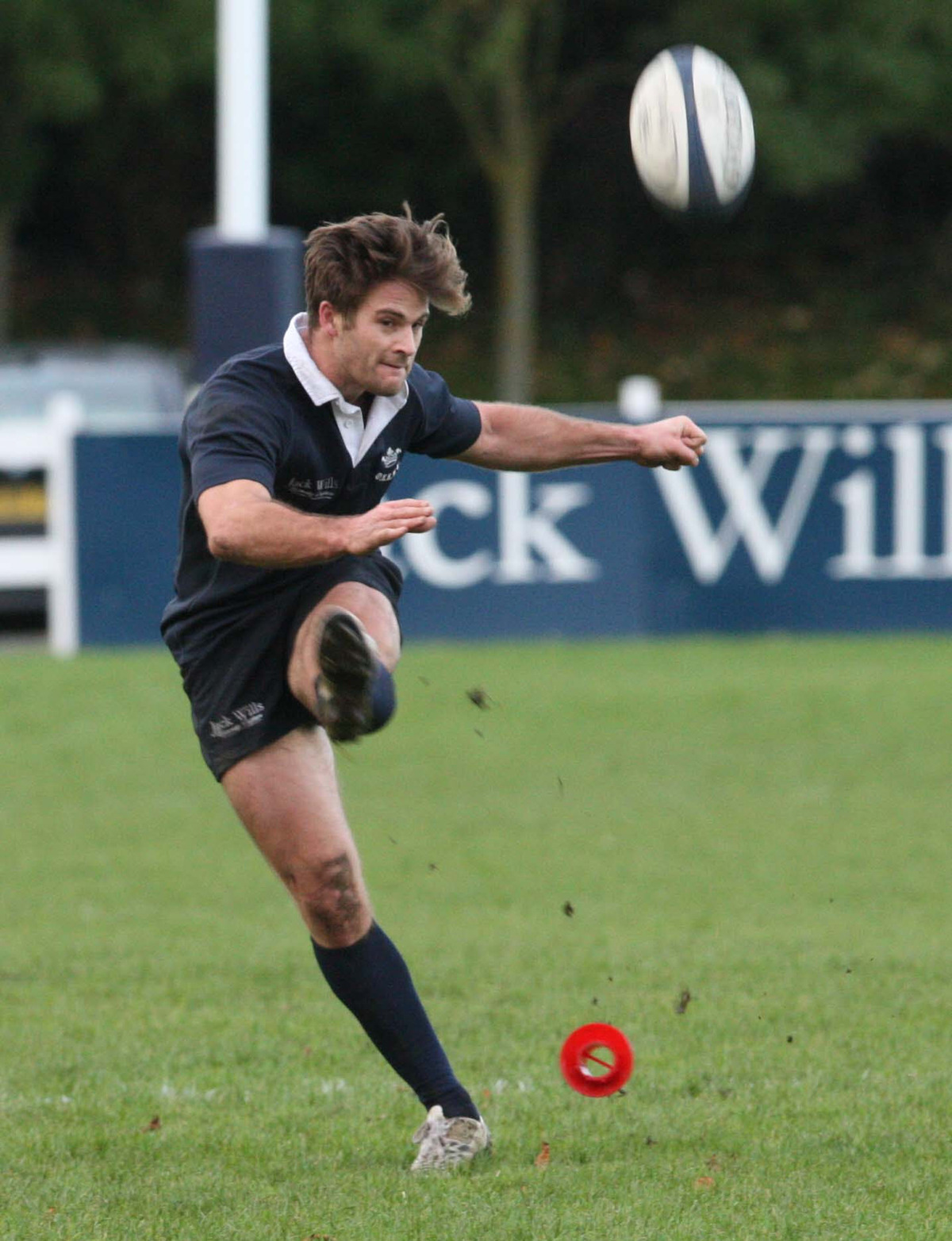 Oxford University's Jacob Taylor goes for goal at Iffley Road