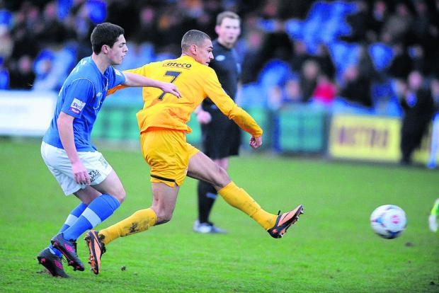 Oxford City's Kayden Jackson shoots towards goal during the first half of the 2-0 defeat at Stockport County
