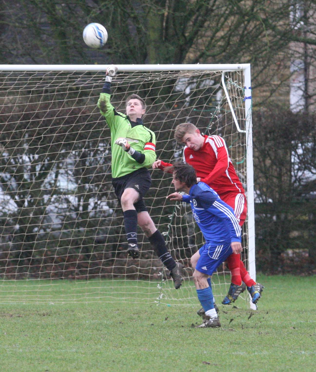 Witney Royals goalkeeper Tom Such makes this clearance, but couldn't stop his side slipping to a 7-2 defeat at the hands of Hanborough