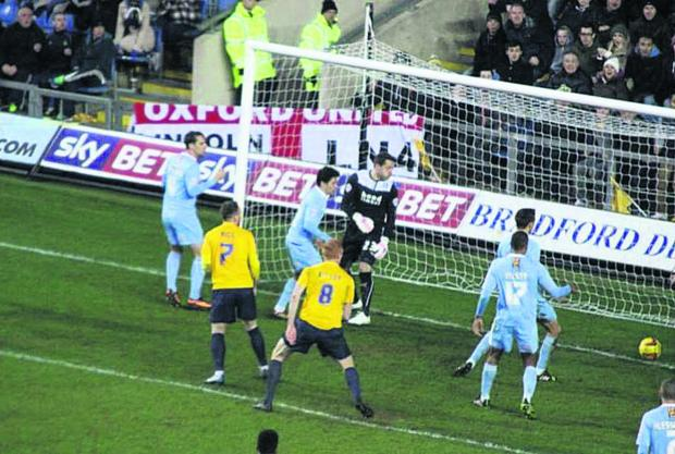 James Constable's header Picture: Darrell Fisher