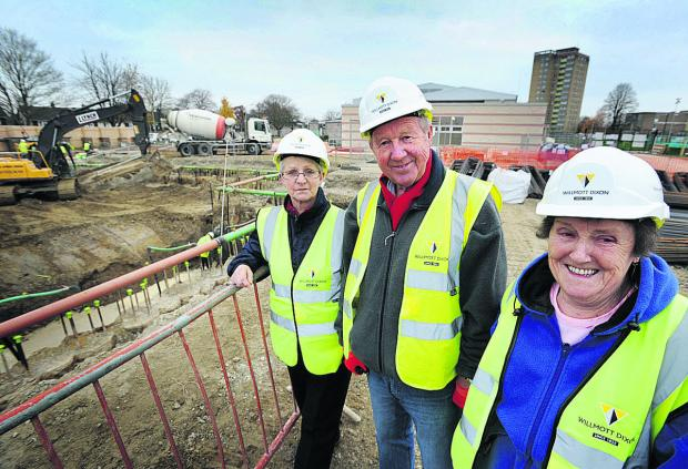 Parish councillors Ann Booker, left, Gordon Roper and Sheila Smith at the construction site