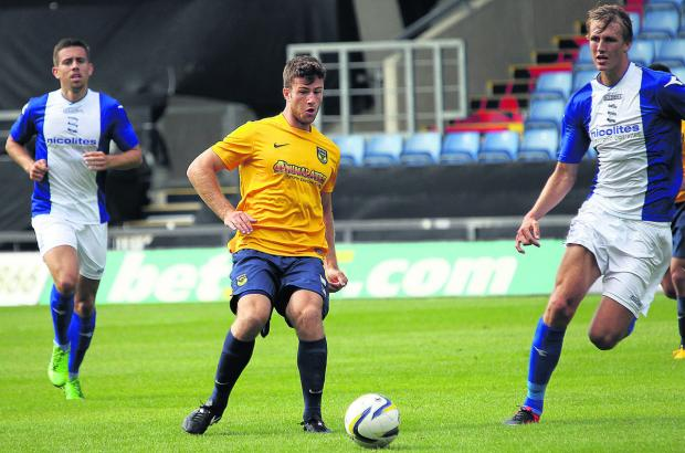 Oxford Mail: Jon Meades in action against Birmingham City in pre-season