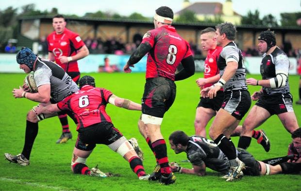 Oxford Mail: Mitch Lees goes over for Welsh's first try against Jersey
