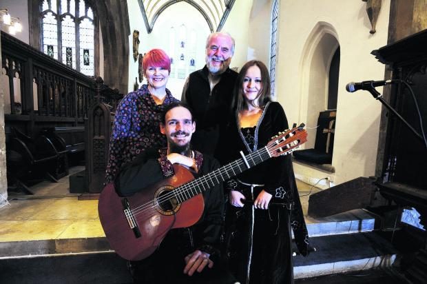 Guitarist Stepan Honc and recorder player Pavlina Bastlova entertained with their brand of fast medieval Celtic folk music. Pictured behind the pair are Rachel Constable who organises the events and the Rev Bob Wilkes