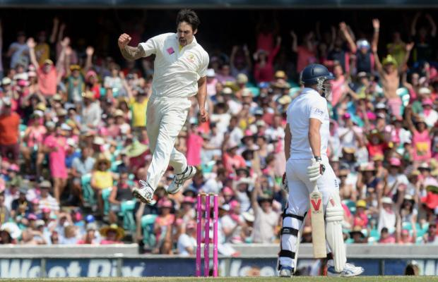 Aussie paceman Mitchell Johnson was superb in the Ashes Series. Here he takes off after dismissing my Yorkshire teammate Gary Ballance during the fifth Test in Sy