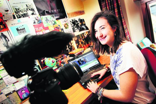 Budding film director Becky Hodges edits her film ready for a screening in Barking this weekend. Picture: OX64621 Ed Nix