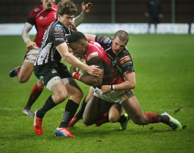 Oxford Mail: Joe Ajuwa powers on during London Welsh's 26-23 victory over Pontypridd