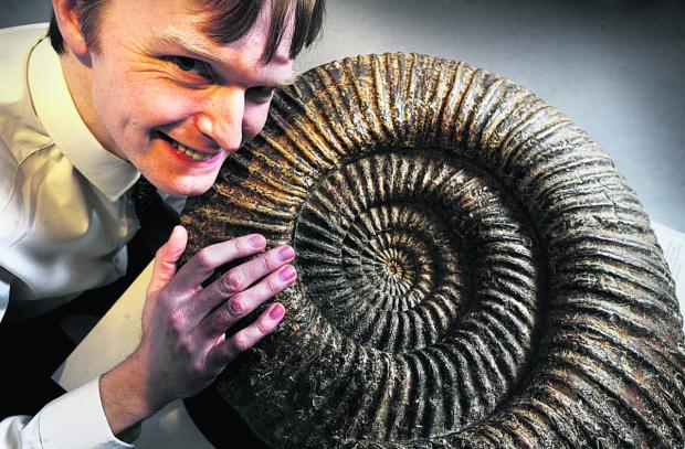 EXHIBIT: Events and exhibitions manager Dale Johnson with a 140,000,000-year-old ammonite