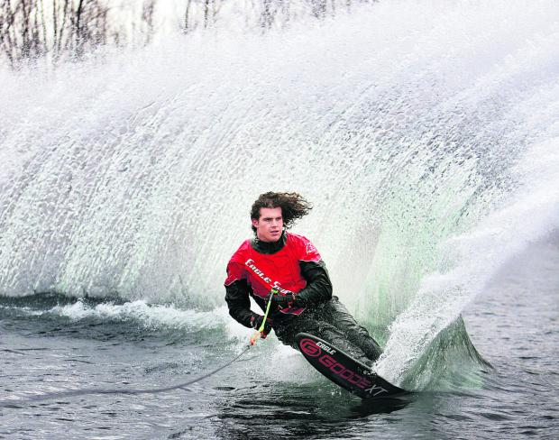 Freddie Winter, who finished third in the 2013 World Championships slalom, in action at Queensford Lake, Berinsfield