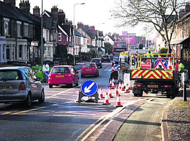 Temporary traffic lights at the junction with Botley Road