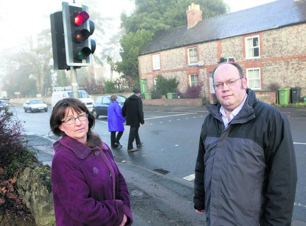 Cllr Samantha Bowring and Cllr Neil Fawcett at the existing crossing. Picture: OX64771 Antony Moore
