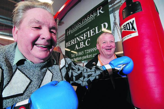 Roy Walton, left, with head coach Mel Corrigan at the opening of a new extension at Berinsfield Boxing Club in 2011