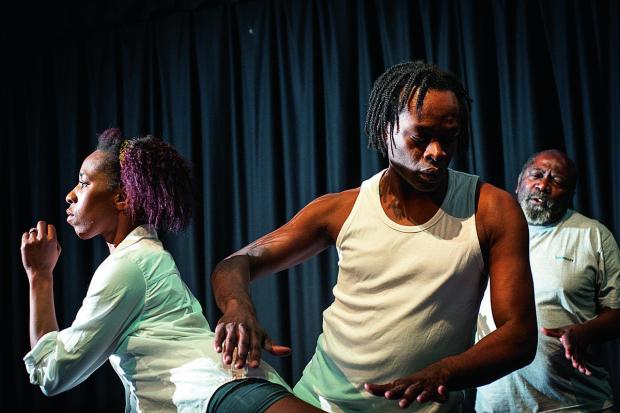 Unlock the Chains Collective at Pegasus Theatre. Nicola Moses-Thrower, left, Allan Hutson and Euton Daley  Picture: OX64749 Andrew Walmsley