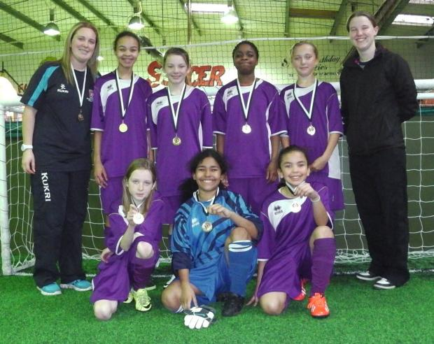 Cheney's girls with their medals after winning the regional final of the ESFA Under 12 Munich Trophies 5-a-side Cup