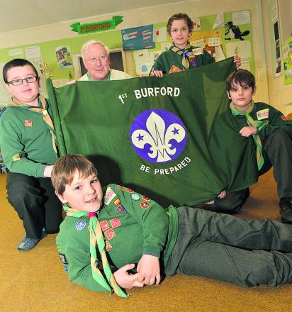 Group Scout Leader Keith Paine with Cubs who will soon be moving up to the new Scout group. Back, left to right, Freddie Oliver, 10, Sam  Blantz, 10, and Ben Krouwel, nine. Front: Hayden Wardlaw, nine Picture: OX64921 Simon Williams