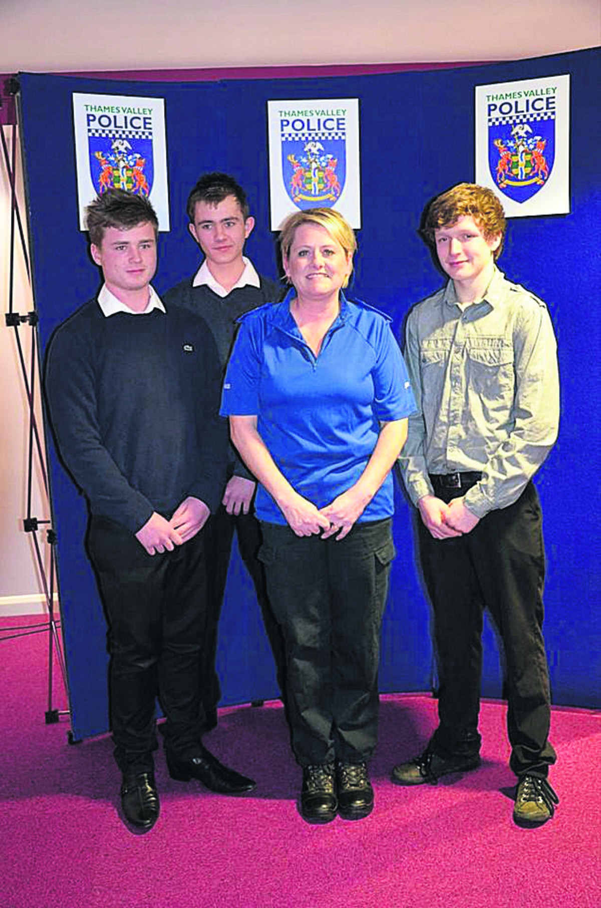 Tyler Walker, Ollie Hinchcliffe and Nicky Wishart are pictured above with Pcso Helen Keen.