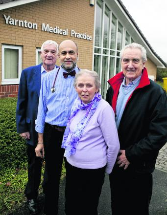Dr Kulwant Pandher, second left, with trustees Graham Melhuish, Sheila Westall and John Cherry at Yarnton Medical Practice. Picture: OX64948 Antony Moore