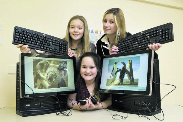 Cara Cullen, Lisa Crawford and Harmony Scott-Russell, all aged 13, are looking forward to the new club