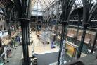 The famous interior of the Museum of Natural History as the wrapping came off exhibits such as the iguanodon last month