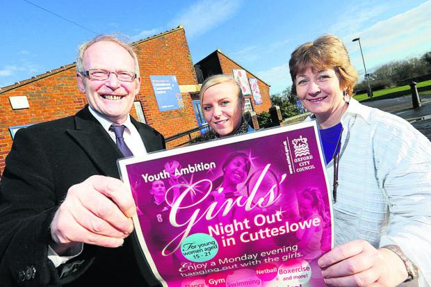 From left: City councillor Steve Curran, Girls' Night Out organiser Jemma Cooper, and Cutteslowe Communty Centre manager Allie Noel, with a poster promoting the sessions. Picture: OX65174  Damian Halliwell