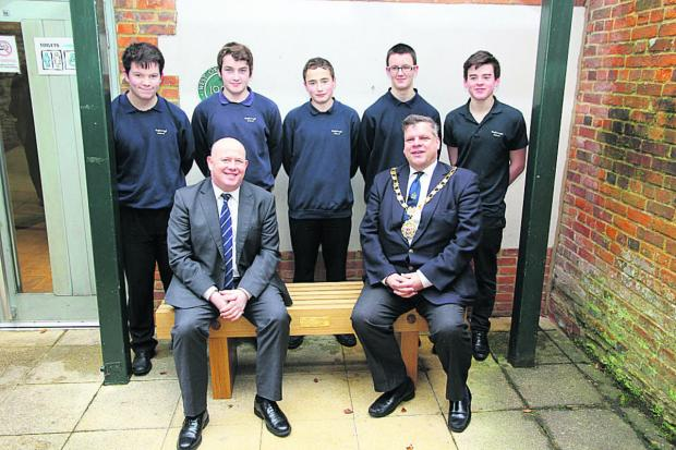 Ian Hudspeth, front, left, and Julian Cooper, right, with pupils, from left, Jordan Bunning, Ben Franklin, Ben Vickars, Max Cox and Joe Sandford