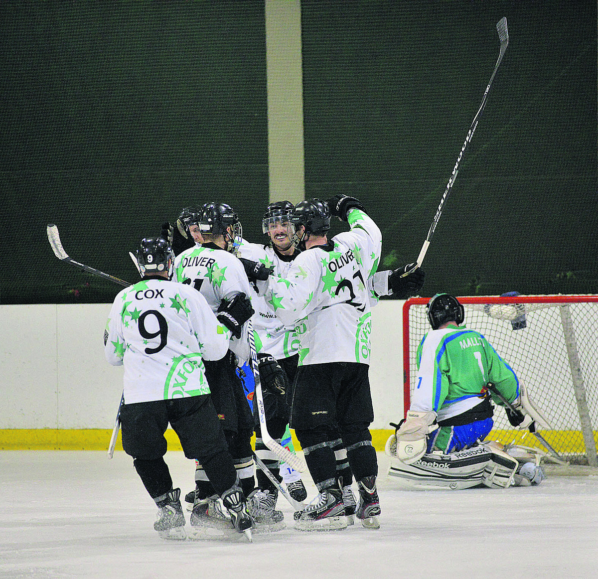 The Stars players come together to celebrate a goal in their 10-1 win over Lee Valley Lions