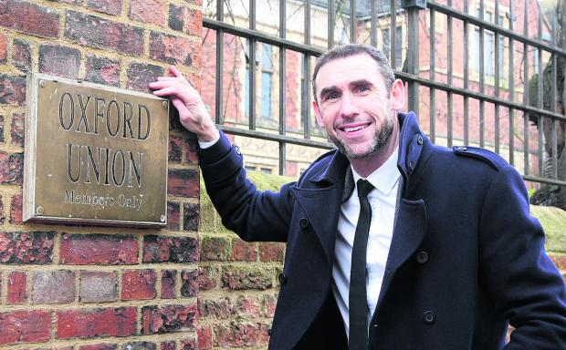 Martin Keown outside the Oxford Unlon entrance in St Michael's Street