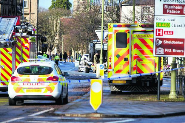 Emergency crews and bomb disposal units in St Giles, Oxford