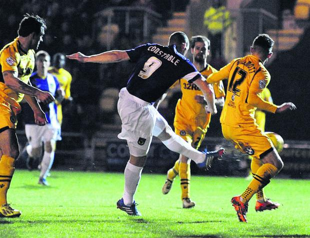 James Constable fires Oxford United into an early lead at Newport tonight