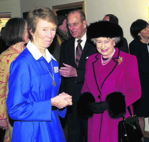 Hospice founder Sister Frances with Her Majesty Queen Elizabeth and Prince Philip at the opening of Douglas House in 2004