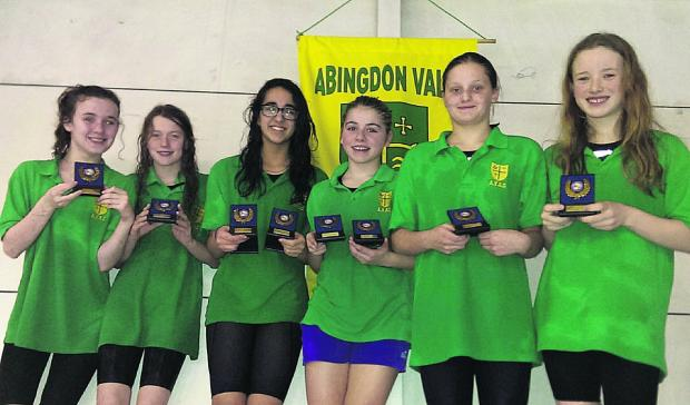 STAR PERFORMANCES: Abingdon Vale's girls 11-12 years relay squad, who won both the freestyle and medley titles at the county      championships (from left): Emma Costello, Zoe Lovibond, Yasmin Tajalli, Emma Ford, Leonie Watson, Charlotte Rowley
