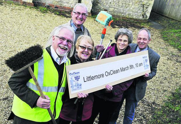 Preparing for the spring clean, from left, Cllr John Tanner, Cllr Gill Sanders, John Sanders, Littlemore Parish Council chair Anne Mogridge and vice chair David Henwood